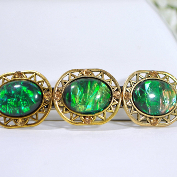 Dragons Eye Barrette, Green Barrette, Handmade, Hair Slide, Green, Gold, Hair Clip for Sale, Gift for Her