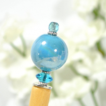 "Blue Beaded Hair Stick, 5.5 inch Wooden Hair Pin - ""Clearwater"""