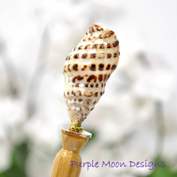 "Natural Seashell Hair Stick, Sea Shell Mermaid Hair Beads - ""Enigma"""