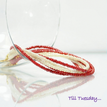 Red Bracelet, 8 inch Bracelet, Twisted Bead Bracelet, Multi-Strand Bracelet, Red White Gold, Bracelet with Clasp