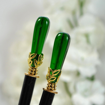 "Pair of Green Hair Sticks, Pair of 4.75 inch Hair Pins for Long Hair - ""Thalia"""
