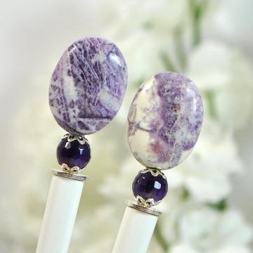 "Purple Hair Sticks, Pair of Hairsticks, Gemstone Hair Stick, Charoite, Small Hairstick, Handmade Hair Accessories - ""Elora"""