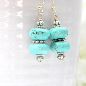 Turquoise Blue Earrings, Dangle Earrings, Drop Earring, Blue Howlite, Your Choice Leverback or Sterling Silver