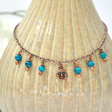 Copper Moon Charm Anklet, Moon Ankle Bracelet, Charm Anklet, Celestial Anklet, Blue Copper Anklet, Handmade Anklet, Chain Anklet