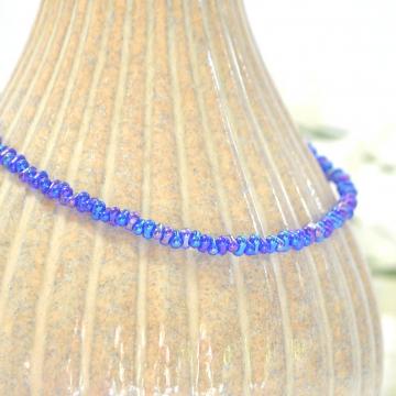 Blue Ankle Bracelet, Handmade 9.5 inch Blue Rope Ankle Bracelet