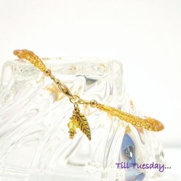 Leaf Anklet, 10 inch Handmade Woodland Charm Ankle Bracelet