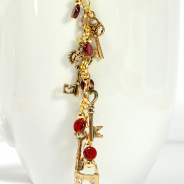 Red and Gold Key Hair Clip, 4 inch Boho Hair Charm with Your Choice of Snap Comb or U Pin