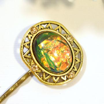 Dragon Eye Bobby Pin, Green Hair Pin, Dragon Jewelry, Gold, Green, Hair Pins, Hair Slide