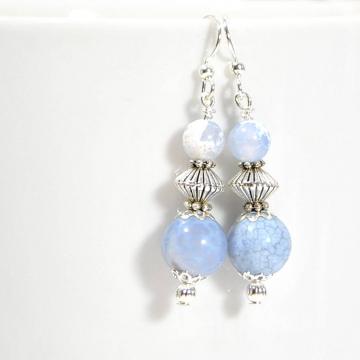 Blue Dangle Earrings, Small Dangle Earring, Blue Silver Earrings, Handmade Earrings, Your Choice of Leverback Earwires or Sterling Silver