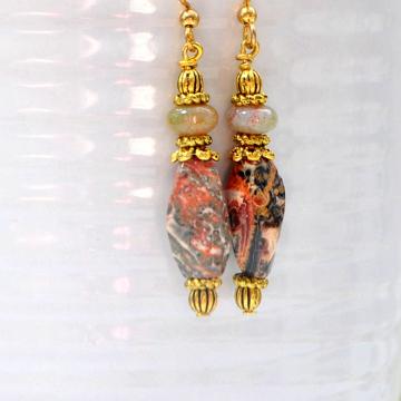 Jasper Earrings, Boho Earrings, 2 inch, Drop Earrings, Bohemian Jewelry, Gemstone Earrings, Handmade, Your Choice Leverback or Gold Filled