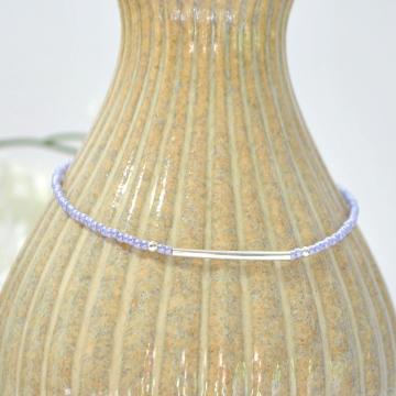 Delicate Purple Bar Anklet, Handmade Lavender 9.5 inch Bar Ankle Bracelet