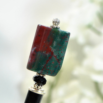 "Green and Red Gemstone Hair Stick - ""Moonfire"""