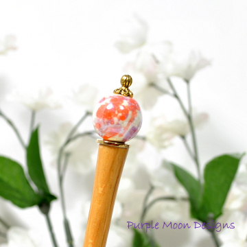 "Minimalist Orange Hair Stick, 5 inch Bun Pin for Messy Hair - ""Aurora"""