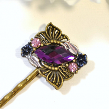 Purple Bobby Pin, Butterfly Hair Clip, Purple Wedding Hair Pins, Handmade Hair Accessories, Hair Slide, Small Barrette