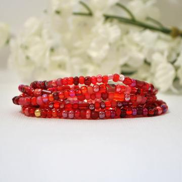 Wrap Bracelet, Stretch Bracelet, 6 Wrap, Elastic Bracelet, Red Layering Bracelet, Handmade