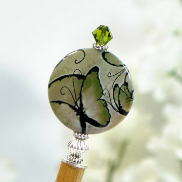 "Butterfly Hair Stick, Green Hairstick, Beaded Hair Stick, Wooden Hairstick, Chinese Hair Pin - ""Gloriosa"""