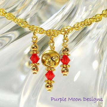 Moon Anklet, Charm Ankle Bracelet, Red Anklet, Red Gold Ankle Bracelet, Moon Ankle Bracelet, Dangle Anklet, Handmade Anklet