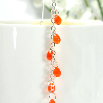 Orange Geisha Hair Chain, 3 inch Pirate Hair Charm with Your Choice of Snap Comb or U Pin