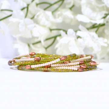 Beaded Wrap Bracelet, 9 Wrap, Layered Wrap, Green, Copper, Multi-Layered Bracelet, Beaded Stretch Bracelet, Elastic Bracelet