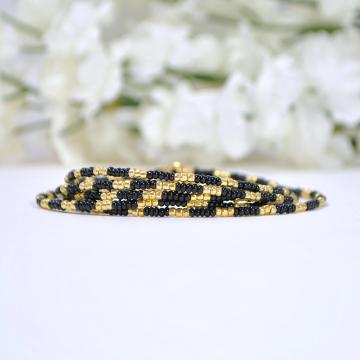 Black Gold Wrap Bracelet, 5 Wrap Bracelet, Multi-Wrap Bracelet, Seed Bead Bracelet, 35 inch Bracelet Necklace