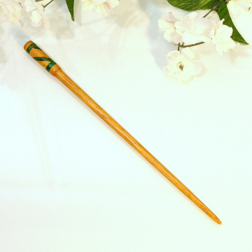 Green Hair Pin, 7 inch Wood Hairstick