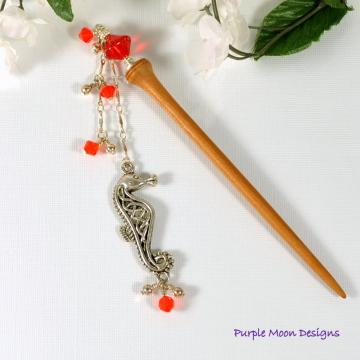 """Seahorse Hair Stick, 4 inch Geisha Charm Hair Chopstick - """"Promise"""""""