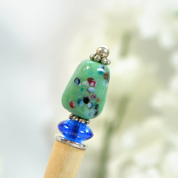 "Small Hair Stick, Beaded Hair Stick, Green Blue Hair Pin, Hair Chopstick, Bun Pin, One of a Kind - ""Annia"""