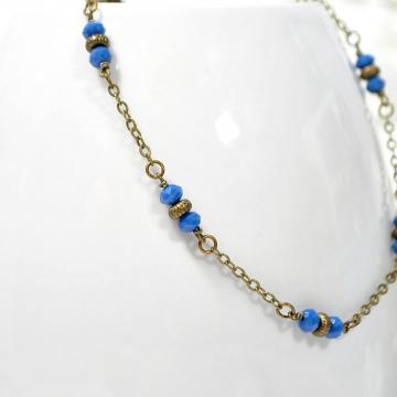 Blue Anklet, Boho Anklet, Blue Bronze Chain Anklet, Boho Jewelry, Chain Ankle Bracelet, Large Anklet, Handmade Bohemian Jewelry