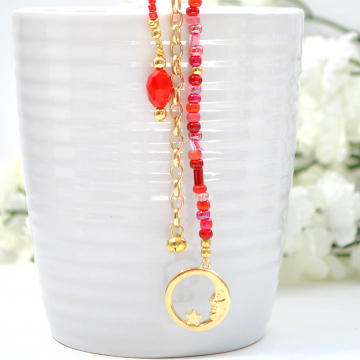 Red Moon Hair Charm, Pirate Hair Beads with Your Choice of Snap Comb or U Pin