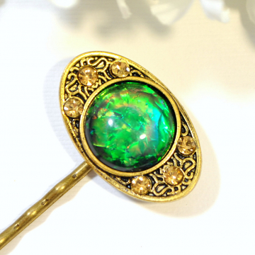 Dragon Eye Bobby Pin, Green Hair Slide, Green Hair Pin, Dragon Jewelry, Gold, Green, Hair Pins