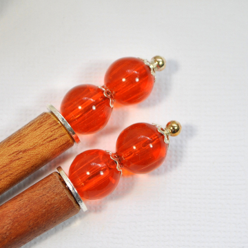 "Pair of Orange Hair Sticks, Minimalist Hair Pins - ""Denisa"""