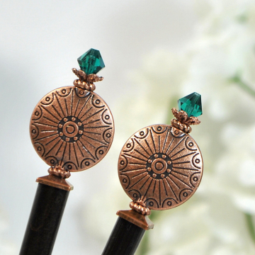 "Copper Hair Sticks, Beaded Hairsticks, Handmade Hair Sticks, Japanese Bun Pins, Hair Chopsticks - ""Endless Skies"""
