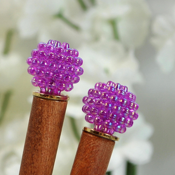 "Pair of Purple Hair Sticks, Short Handmade Hairpins - ""Rhya"""