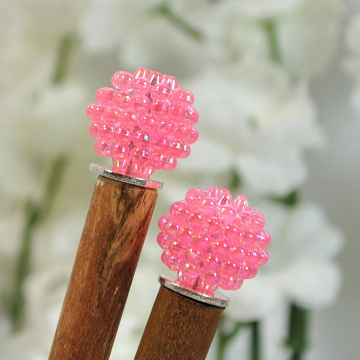 "Pair of Pink Hairsticks, Simple Bun Pins - ""Layla"""