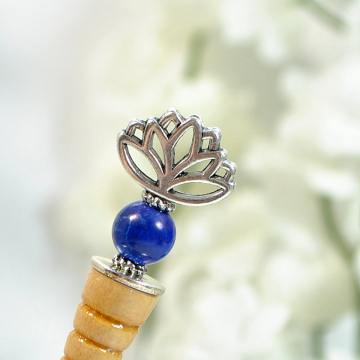 "Blue Lotus Flower Hair Stick, Small Handcrafted Hair Pick - ""Divine"""