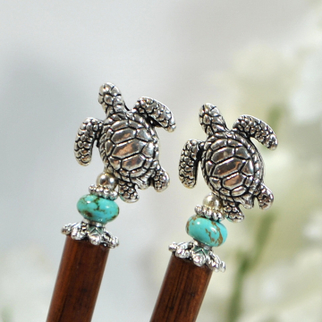 "Sea Turtle Hairsticks, Beach Hair Pin, Seaturtle Hair Sticks, Handmade Hair Sticks, Mermaid Hair Jewels - ""Wave Dancer"""