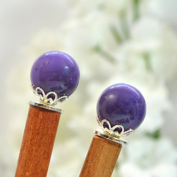 "Pair of Purple Hair Sticks, Hair Chopsticks - ""Elena"""