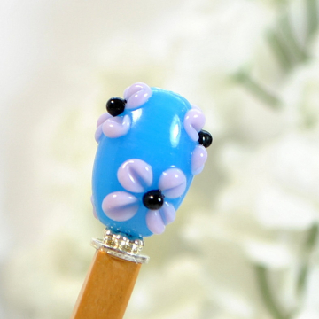 "Blue Flower Hair Pin, Small Wooden Bun Pin - ""Terezie"""