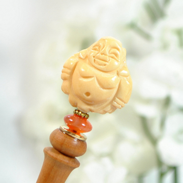 "Buddha Hair Stick, Handmade Wooden Hair Chopstick - ""Wisdom"""