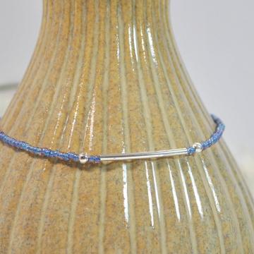 Blue Bar Anklet, 9.5 inch Layering Anklet