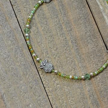 Woodland Owl Anklet, 10 inch Green Silver Owl Ankle Bracelet