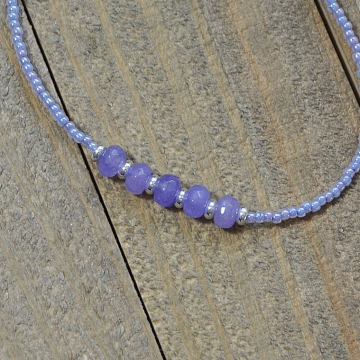 Lavender Gemstone Anklet, 9.5 inch Handmade Ankle Bracelet