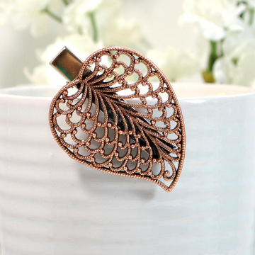 Copper Leaf Hair Clip, Woodland Leaf Barrette