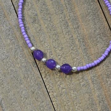 Lavender Gemstone Anklet, 9.75 inch Handmade Ankle Bracelet