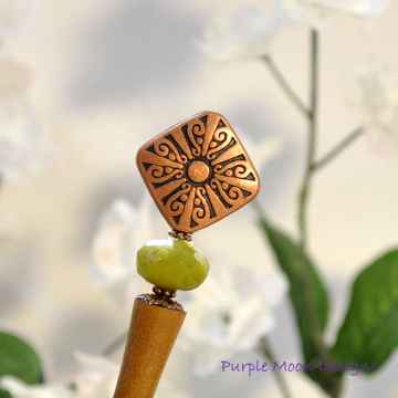 Copper and Green Hair Stick