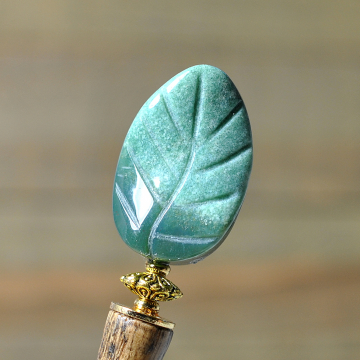 "Green Leaf Hair Stick, 4.5 inch Wood Hair Bun Pin - ""Tranquility"""