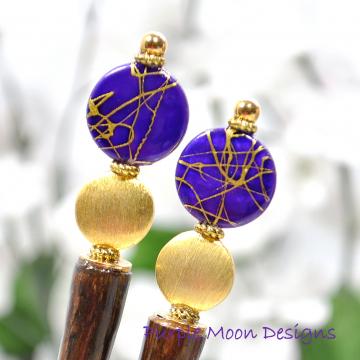 Purple and Gold Hair Sticks