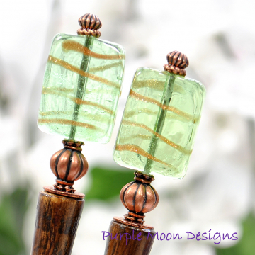 Copper and Green Hair Sticks